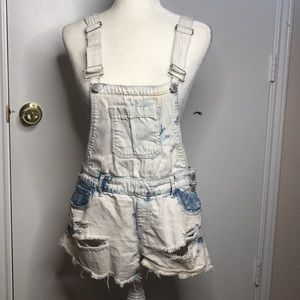 Distressed Acid Wash Overall Shorts